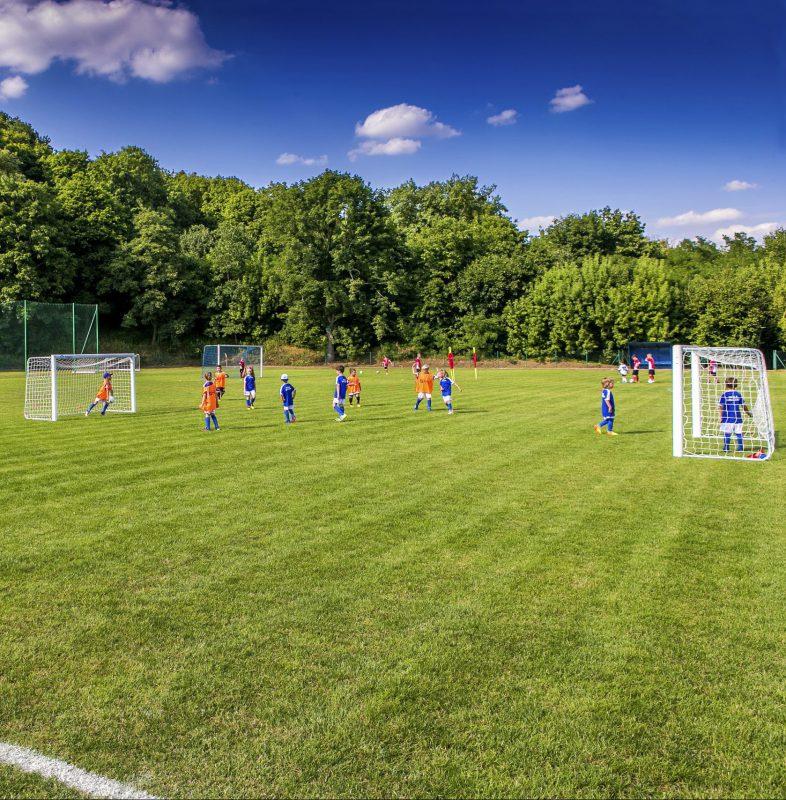 widok na trawiastą murawę staionu, na murawie młodzi piłkarze
