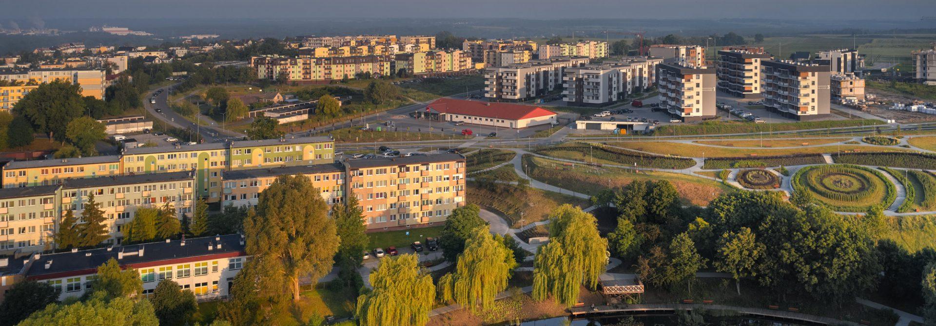 panorama miasta Świecie, widok z osiedlem nowych bloków