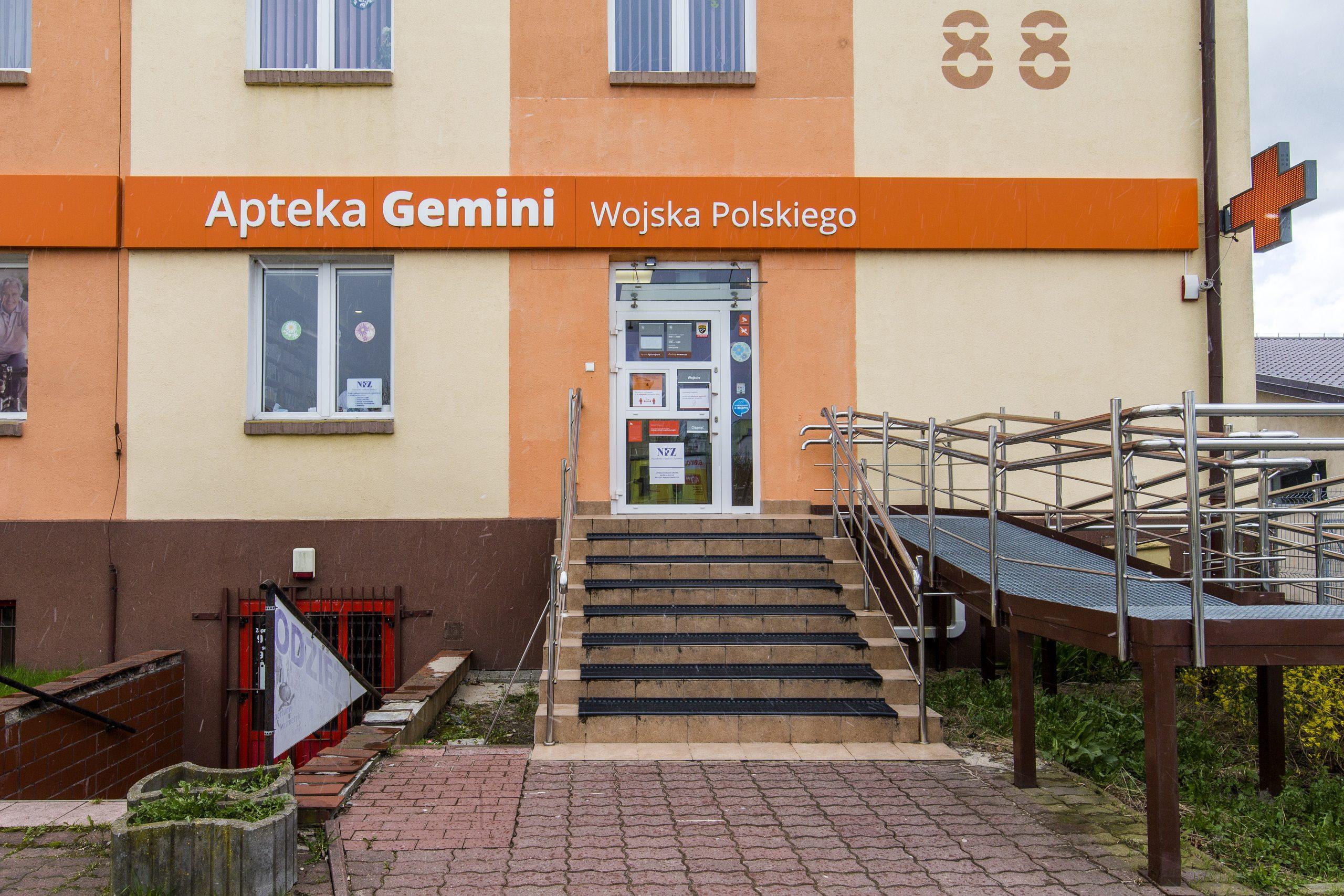 widok na wejście do Apteki Gemini