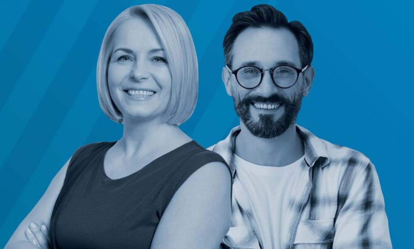plakat promujący nabór na rachmistrzów spisowych, na plakacie dwie usmiechnięte osoby