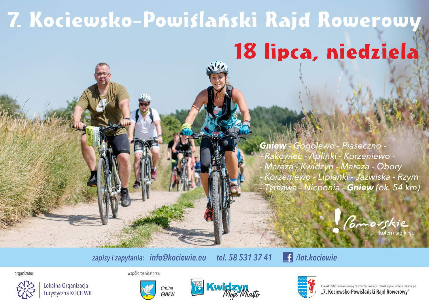 na obrazku rowerzyści jadący po polnej drodze, plakat reklamuje 7. Kociewsko-Powiślański Rajd Rowerowy