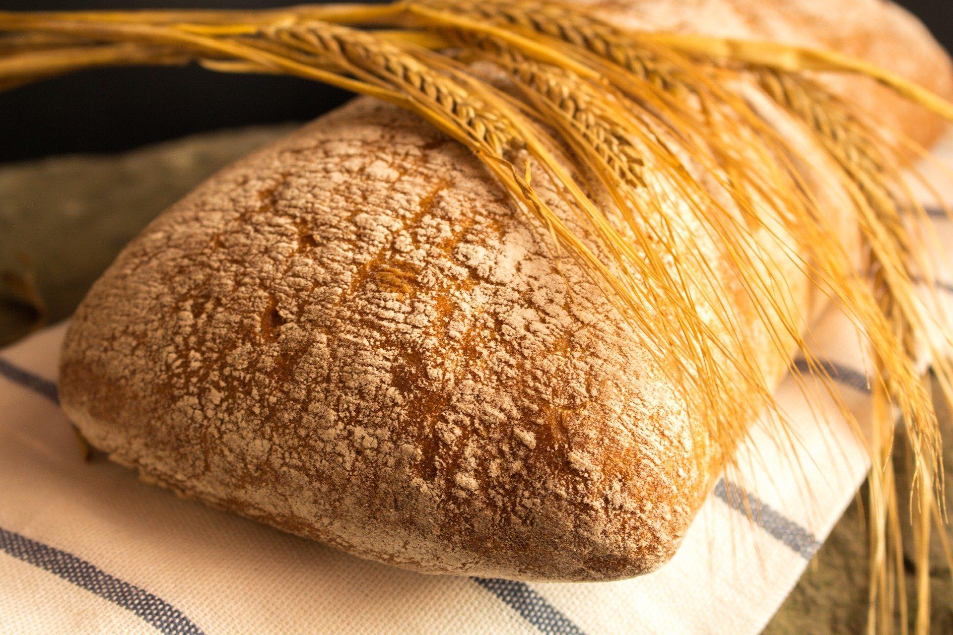 na obrazku kłosy zboża połozone na chlebie