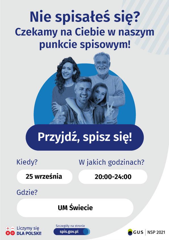 plakat promujący Narodowy Spis Powszechny 2021